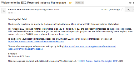 Screenshot of example EC2 Reserved Instance Marketplace seller confirmation email message