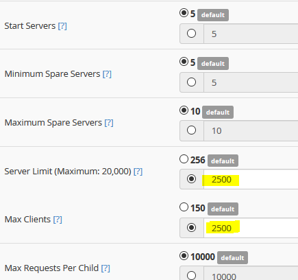 Tuning Apache (httpd) mpm_worker under cPanel WHM for large