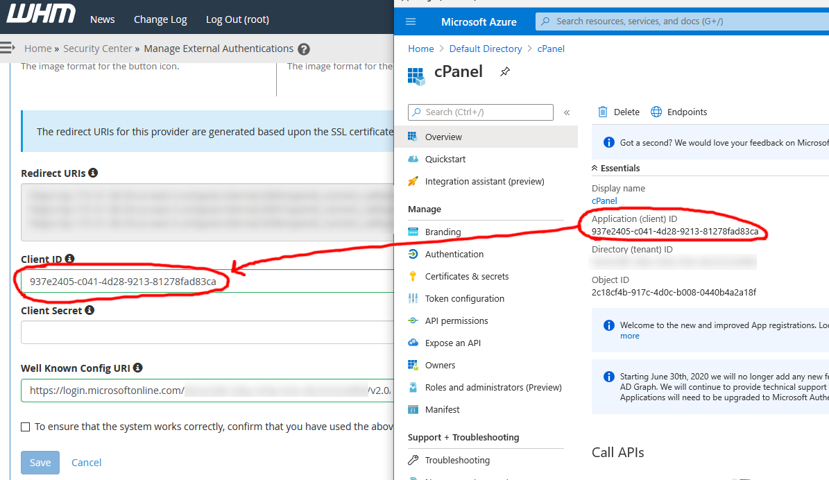 Screenshot of copying and pasting the OpenID Connect client ID from Azure AD into the cPanel WHM external authentication configuration screen