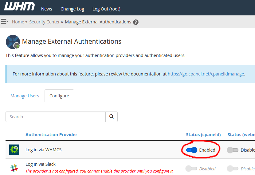 Screenshot of enabling the WHMCS external authentication provider in WHM for cpaneld logins