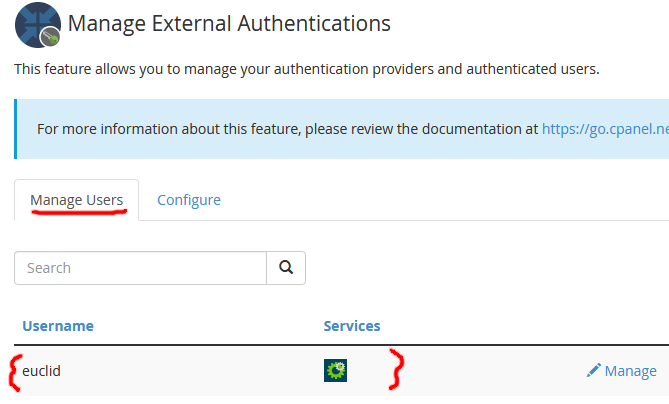 Screenshot of Azure AD linked to cPanel account in WHM External Authentication configuration