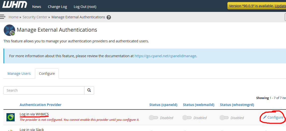 Screenshot of Manage External Authentications in WHM - WHMCS