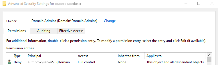 Screenshot ADUC and the Deny Full Control permission created on a user object using dsacls