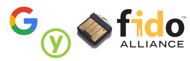 Decorative title image of Google or Yubico Gnubby YubiKey with respective company logos and a FIDO/U2F logo