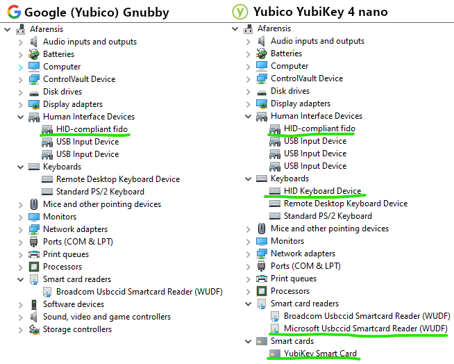 Side by side comparison of Device Manager highlighting the differences between the Gnubby and a YubiKey 4