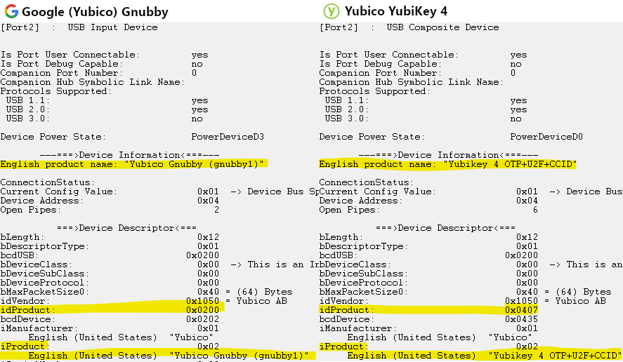 Side by side comparison of USBView highlighting the differences between the Gnubby and a YubiKey 4