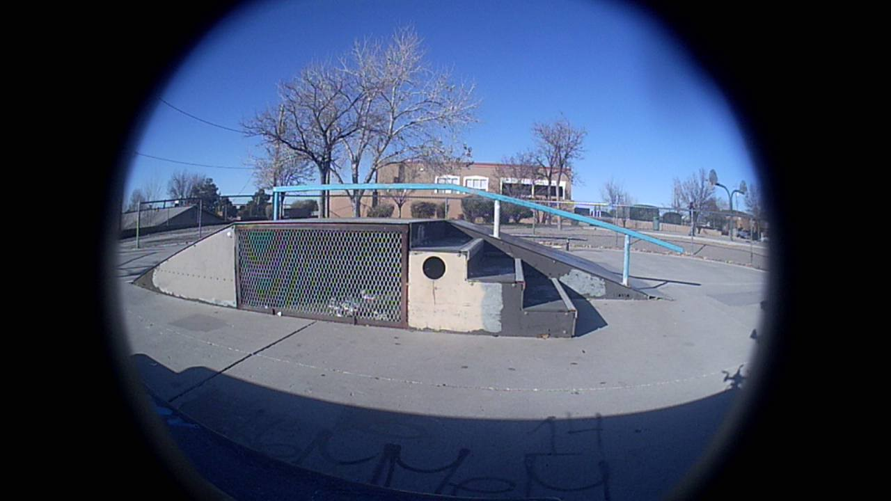 Side view of the fun box at Lafayette Park in Albuquerque, captured with the Holystone F181G custom / fisheye camera lens