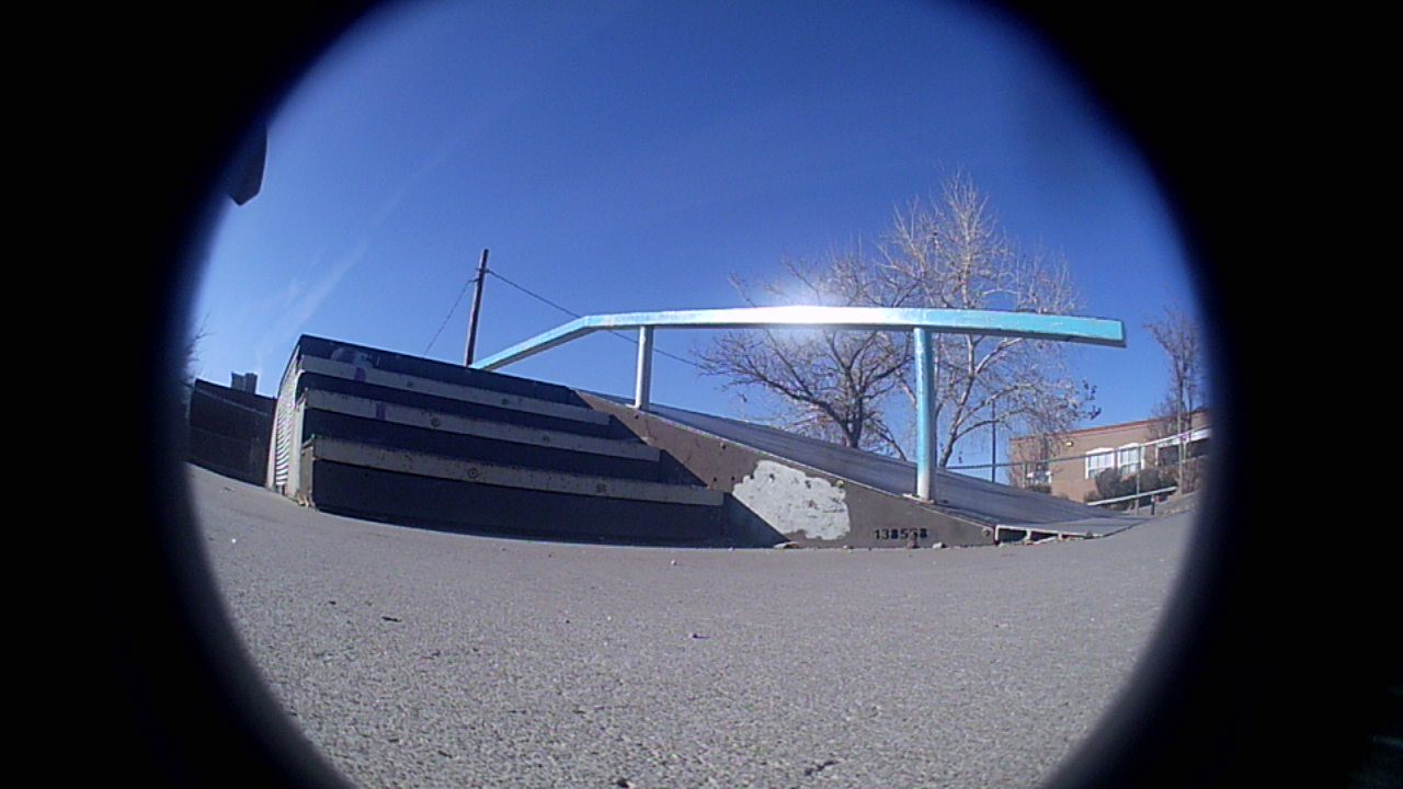 Alternate view of the fun box at Lafayette Park in Albuquerque, captured with the Holystone F181G custom / fisheye camera lens