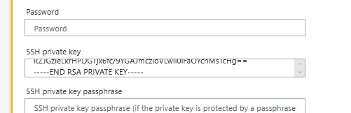 MS Flow SSH private key field on SFTP connection, with example key pasted