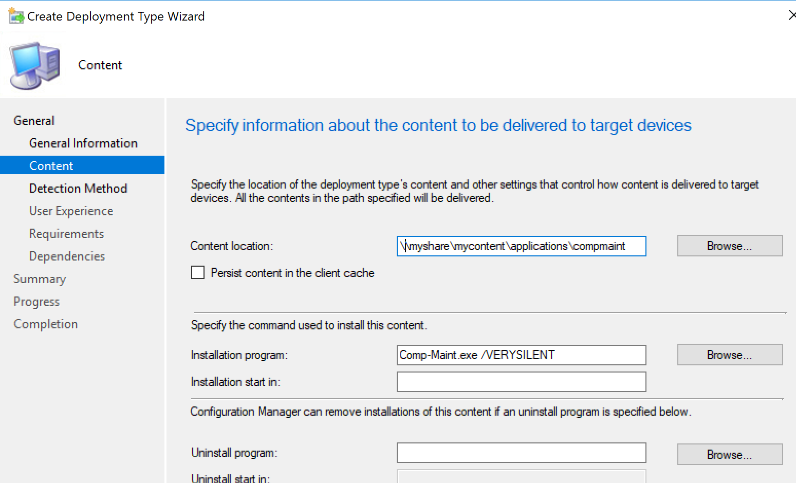 Content location and installation program in SCCM