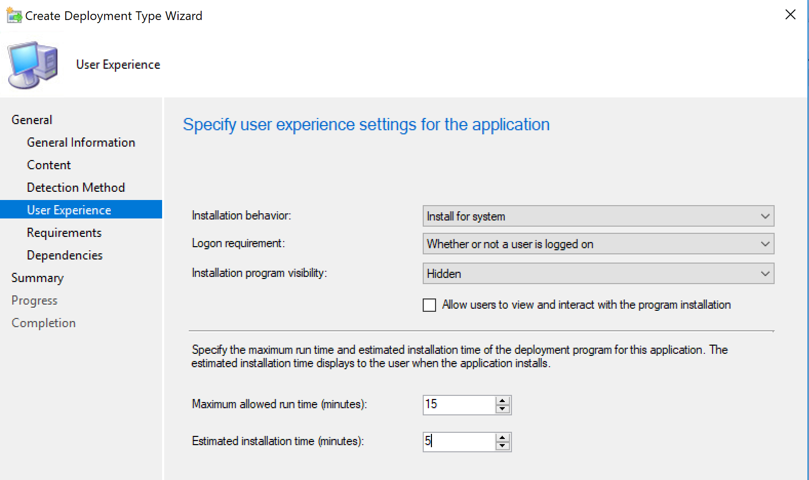 Example user experience settings for password reset application in SCCM