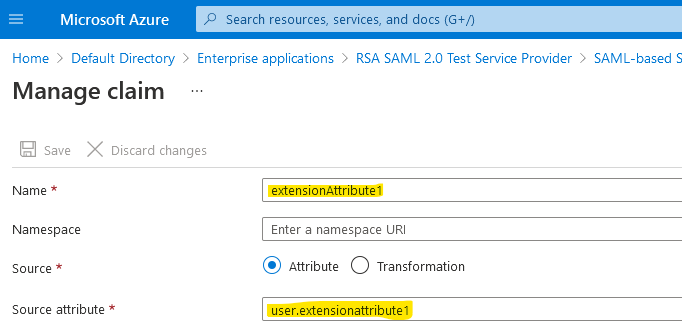 Screenshot of adding extensionAttribute1 (sourced from user.extensionAttribute1) as a custom claim to an Azure AD Enterprise Application (SAML)