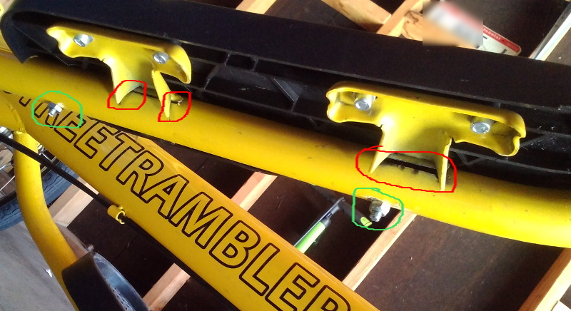 Street Rambler pedal separation and fix - bottom view (damage and fix circled)
